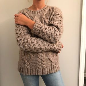 Garnet Hill Cable knit Chunky sweater wool Small